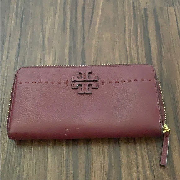 Tory Burch Handbags - Tory Burch cranberry zip around wallet